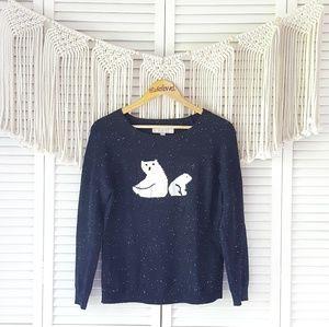 LOFT Navy Polar Bear Graphic Speckled Sweater XS